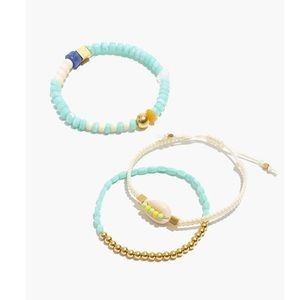 NWOT Madewell Cool Blue Cowrie Shell Bracelet Set